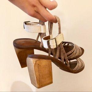 Rachel Comey strappy leather wooden block heels